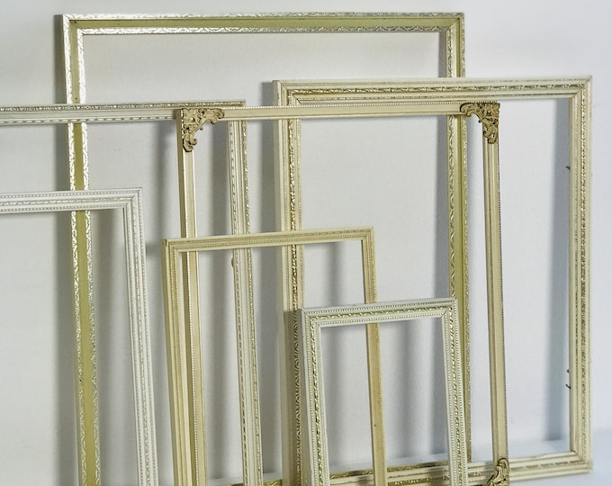Vintage Ornate White and Gold Frames Collection For Gallery Wall Display Assorted Old Frames For Interior Decor