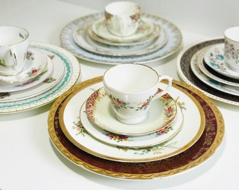 10 Sets Mismatched China Plates Teacups and Saucers | 50 Piece Wedding China Dinner Service | Mix and Match Vintage China | Tea Party China