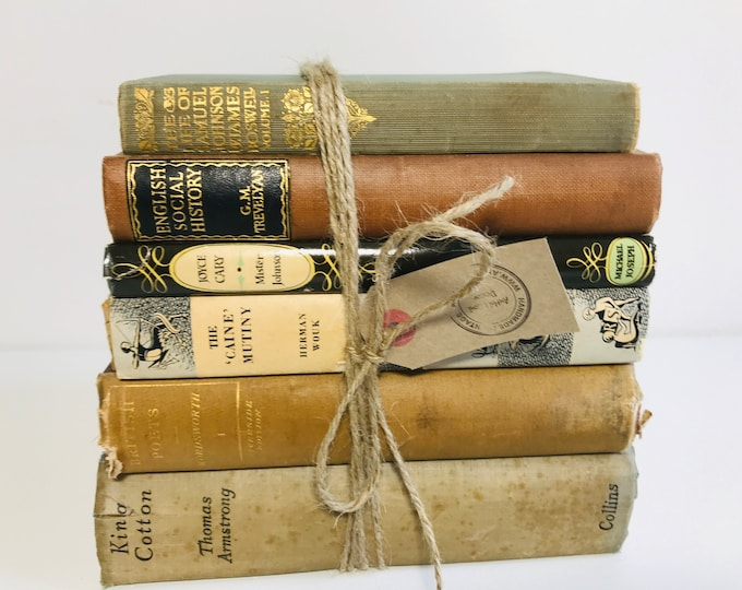 Grey Taupe and Brown Old Books Stack | Vintage Books | Old Books Decoration | Interior Design Shelf Staging for Home Decor