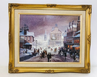 Vintage Gold Ornate Framed Reproduction Print | Snowy Winters Night People Passing Vintage Shops Scene | Lilac Grey Cafe Decor