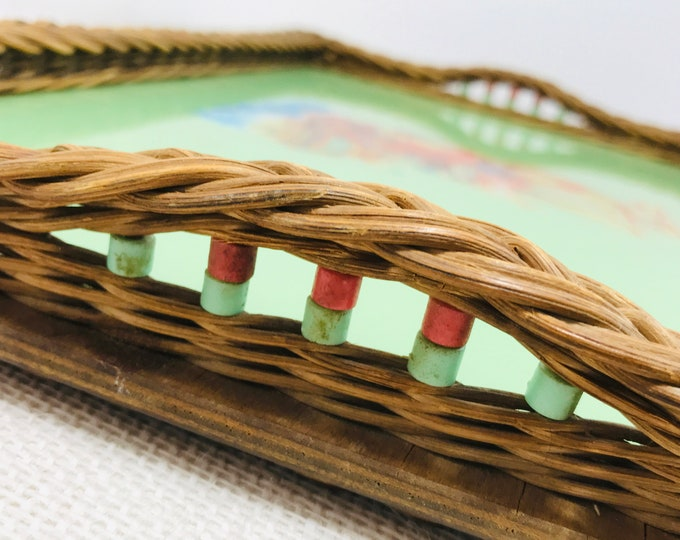 Mid-Century Vintage Glass and Wicker Tea Tray | 1950s - 1960s Serving Tray Green Glass Top and Basket Weave Edge