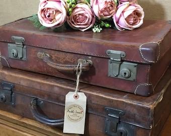 BROWN Leather Vintage Cases Vintage Brown Leather Style Suitcases Vintage Luggage Vintage Home Decor Antique Cases Photo Props