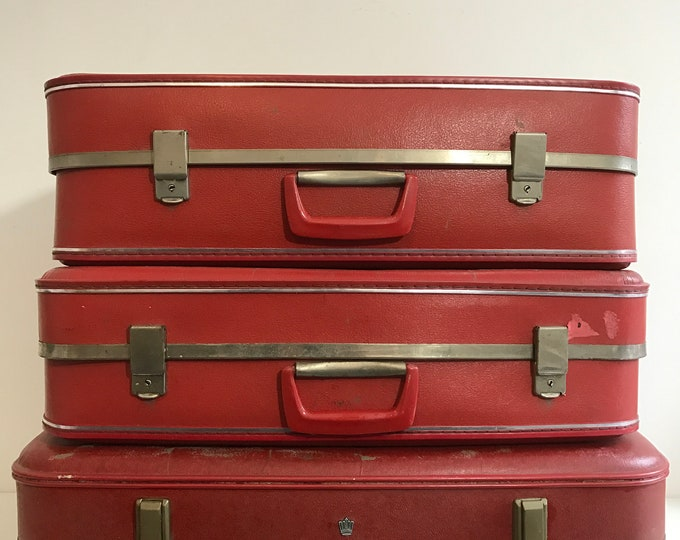 Vintage Suitcases RED Vintage Luggage Vintage Home Decor Vintage Storage Solution Retro Cases Photo Props For Interior Design