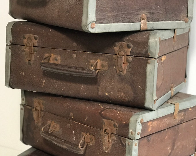 Vintage Brown Trunk Small Time Capsule Box Cases Antique Trunk Storage Boxes Vintage Luggage Props Wooden Vintage Suitcases Wedding Card Box