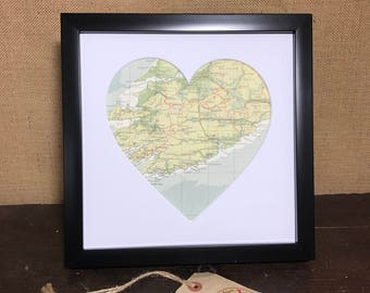 Framed Heart Map | Custom Heart Map | Framed Wedding Heart | Custom Map Heart | Gift For Newlyweds | Newlyweds | Custom Wedding Map
