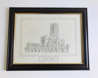 Large Vintage Framed Print of Sketched Liverpool Cathedral Building | Liverpool Architectural Pencil Drawing of Merseyside Church