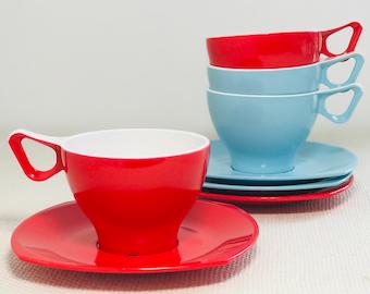 Vintage Melamine Cups and Saucers Retro Glamping Picnic Set | 1960s Argosy Melamex Caravan Ware | Blue and Red Retro Homeware Melamex Set
