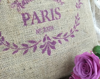 Burlap Cushion | French Farmhouse | Fashion Lovers Gift | Rustic Cushion | Hand Printed Hessian Cushion | Paris Cushion | Pink Cushion