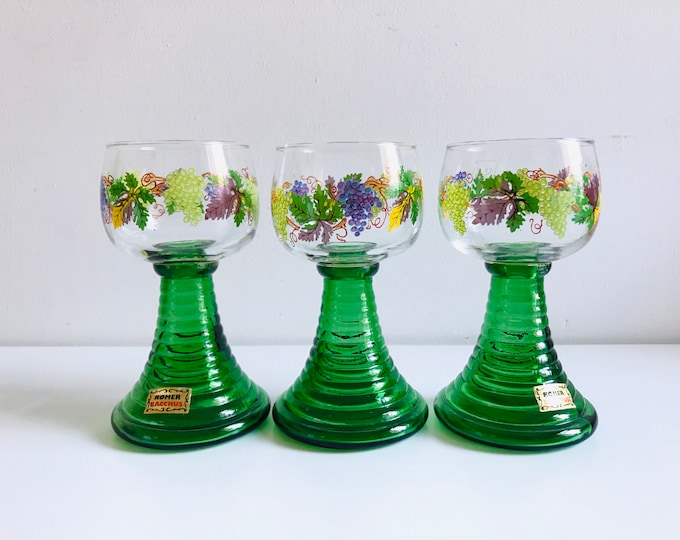 Green Romer Drinking Glasses set of 3 | Pretty Green Wine Goblets Bohemian Long Wide Stem Glass
