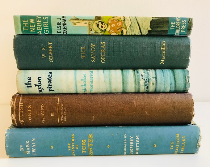 Teal Blue Green and Brown Decor Book Collection Decorative Old Books | Bookshelf Display Library Decor Photo Props and Interior Design