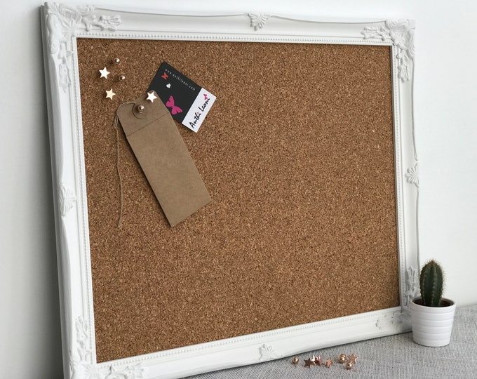 FRAMED CORK BOARD in White Framed Pin Board Push Pin Board Ornate Vision Board Notice Board Home Office Decor Memo board Command Centre