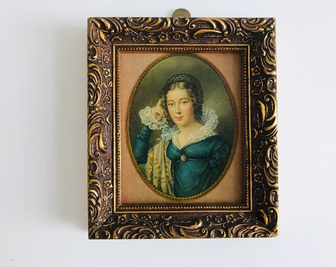 Ornate Framed Miniature Reproduction Portrait of a Pretty 18th Century Woman