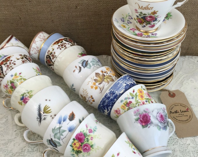 Job Lot 40 Pieces Vintage China | 20 Mismatch China Tea Cups and Saucers for Weddings & Events | Mix and Match China Tea Cups and Saucers