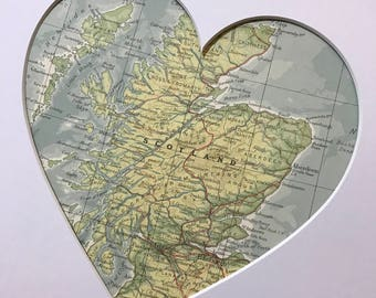 SCOTLAND Heart Map Art Gift | Country Heart Map | Map Heart | Custom Map Country | Heart Map Gift | Scottish Heart Map | Love Scotland Gift