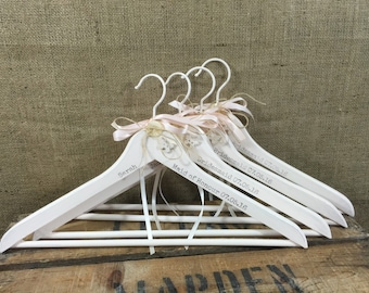 Custom Wedding Hanger Set of 10 | Bridal Hangers | Mrs Name Hanger | Wedding Hangers | Bridesmaids Hangers | Personalised Dress Hanger Set