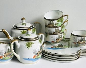 Rare Hayashi Kutani Japanese Design Porcelain China Tea Set with 4 Cups and Serving Saucers Pretty 13 Piece Oriental Fine China Tea Service