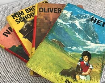 Children's Classic Book Titles YELLOW and RED Books Children's Story Book Collection Vintage Books Heidi Ivanhoe Oliver Twist Tom Brown
