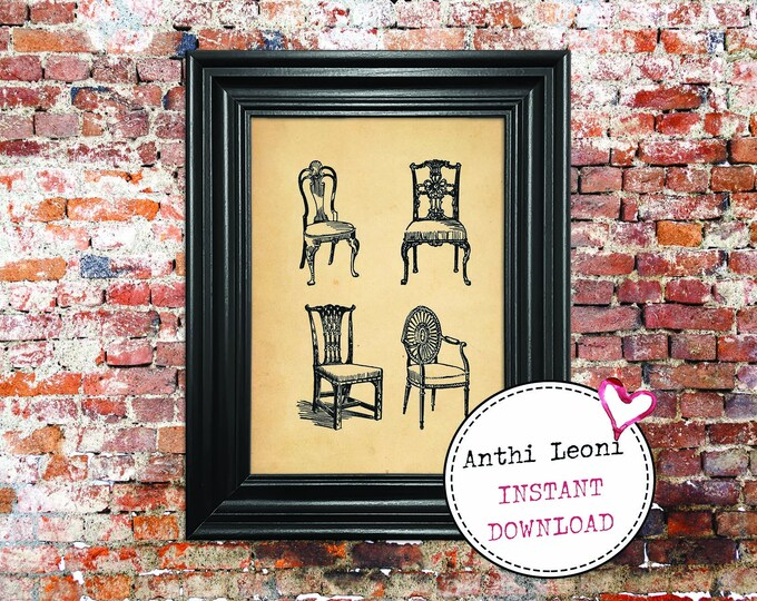 Antique Chairs Instant download | Vintage Old Paper Print Design | Old Chairs Book Page Illustration | Just Download and Print #0002