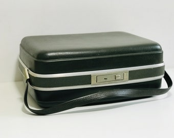 Green Retro Vanity Case 1960's Vintage Luggage | Vintage Mod Case | Retro Dark Olive Green Luggage | Retro Photo Props