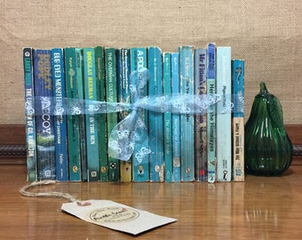 Teal Books | Teal Blue Ombre Books | Boho Shelf Decor | Boho Bookshelf Decor | Decorative Books | BLUE GREEN Paperbacks | Book Stack Bundle