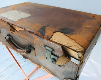 Shabby Brown Vintage Suitcase Luggage For Retail Display or Interior Design