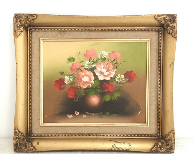 Small Vintage Gold Ornate Framed Reproduction Painting of Flower Red and Coral Pink Blush in a Vase | Still Life Painting Oil or Acrylic