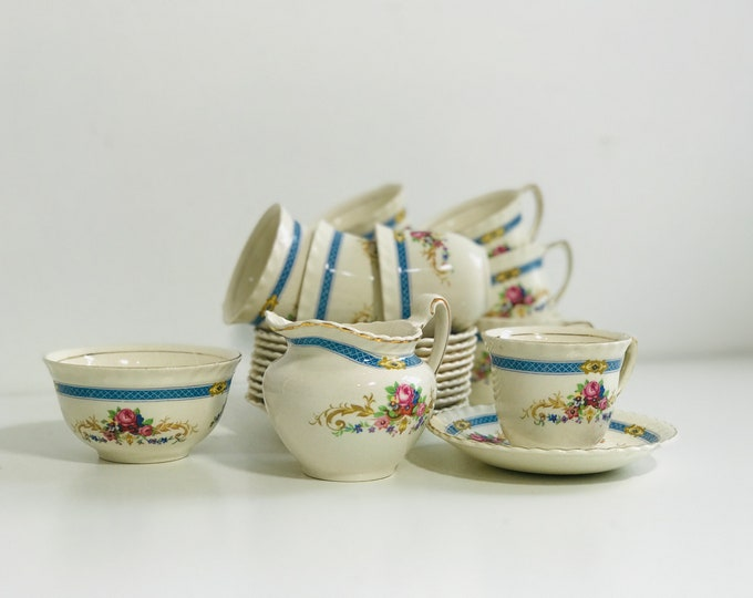 Pretty Blue and White China Coffee Set | Vintage Coffee Set | Turkish Coffee Set | Coffee Cups Set | Demitasse Coffee Set