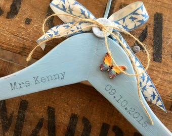Something Blue Wedding Gift | Wedding Hanger | Bridal Hanger | Decorative Hanger | Mrs Hanger | Mrs Hanger For Bride