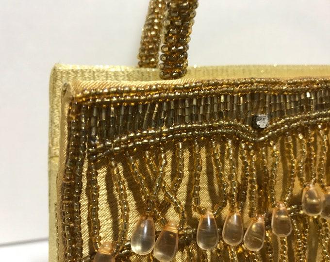 Gold Beaded Evening Handbag Clutch Purse with Handles by Mandarini circa 1960s Designer Fashion Accessory Evening Wear Prom