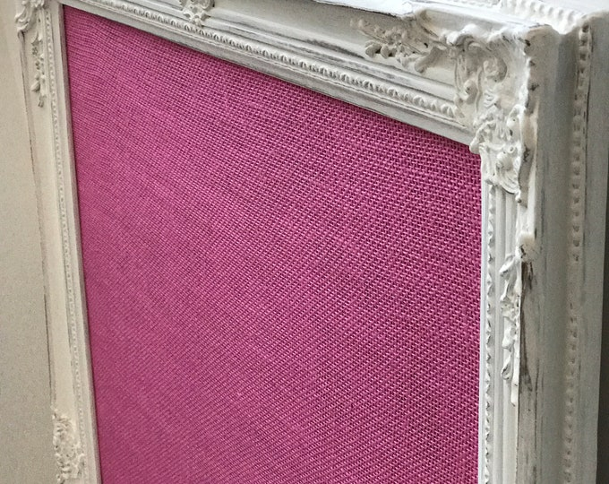 White and Pink Burlap Ornate Vision Board Large Bulletin Board in Pink Fabric Extra Large Pin Board Mood Board Command Centre Branding Board