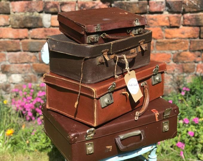 Small Vintage Suitcases | Wedding Photo Prop | Rustic Wedding Decor | Movie Prop | Photography Prop | Small Suitcases | Vintage Decor |