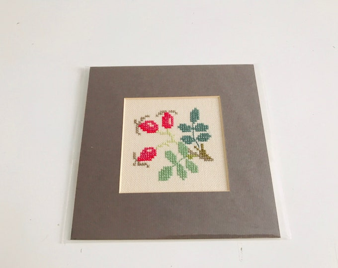 Small Vintage Cross Stitch Sampler of a bunch of Cherry Blossom Flowers | Craft Room Decor | Vintage Mounted Square Wall Hanging Decor