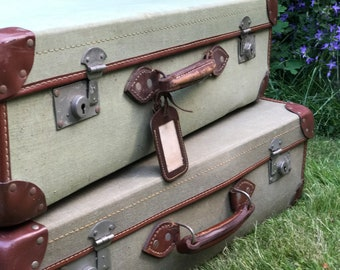 Vintage DMOB Military Suitcase Green Canvas Fabric Suitcase with Brown Leather Trim Vintage Vintage Cases and Photo Props