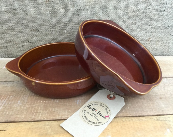Vintage Shallow Ceramic Oven Dishes by TG GREEN | Brown Glazed Farmhouse Kitchen Dishes | Rustic Home Decor | Brown Vegetable Serving Dishes