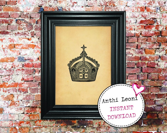 Antique Crown Instant download | Vintage Paper Monarch Headgear Print Design | Old Crown Book Illustration | Just Download and Print #0012