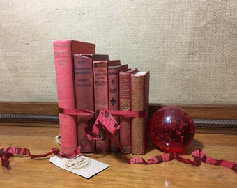 RED Vintage Book Collection - Old Books Decoration - Interior Design Shelf Staging - RED Home Decor - Custom Sourced Books