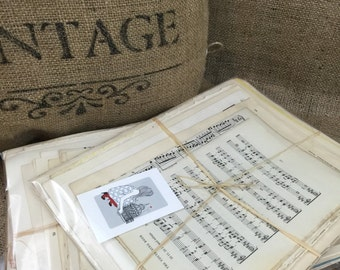 Vintage Music Papers | Vintage Craft Papers | Vintage Book Pages | Music sheets | Vintage Paper Packs | Music Note Paper | Craft Pack