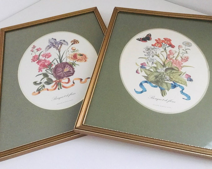 Pair of Framed Vintage Botanical Colour Prints Bouquet de Fleur by Joseph Karnell Pinx