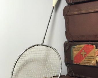 Vintage Badminton Racket by Carlton | Old Racket With Leather Handle | Sports Collectible