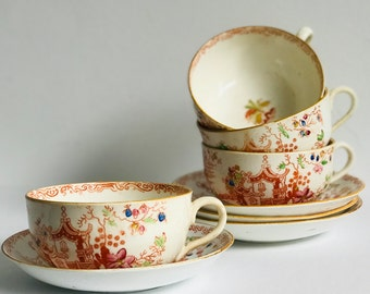 Rare Old English Antique  Cream Soft Paste Teacup and Saucer Hand Painted in Pretty Orange Chinoiserie Ornamental Flowers c1800's