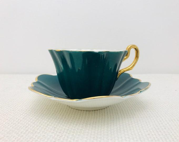Vintage Royal Stuart Spencer Stevenson Harlequin China Tea Cup and Saucer in Green Scalloped Edge Design Pretty Vintage China Gift Idea
