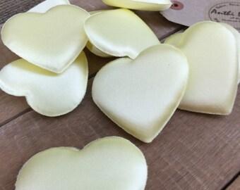 Padded Hearts | Satin Padded Hearts | Applique Hearts | Heart Padding | Valentine's Decor | Heart Embellishments | Pack of 10 x 6cm x 6cm