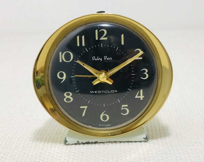 Mid Century Retro Baby Ben 1950s Alarm Clock in Gold and Cream with Black Face | Small Vintage Travel Alarm Clock Made in Scotland Westlox