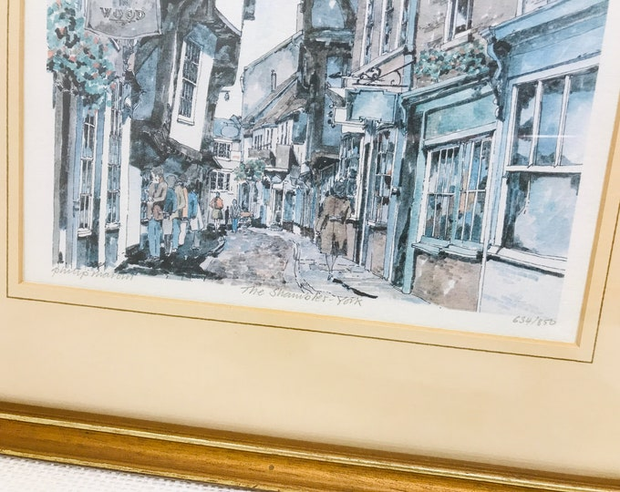 Philip Martin Signed Limited Edition Framed Lithograph Print of original watercolour depicting The Shamble York 634/850