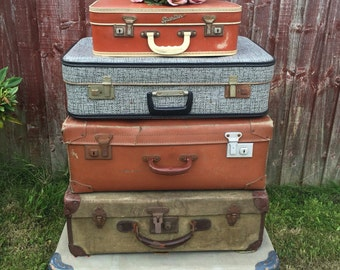 Suitcases | Vintage Suitcases | Vintage Luggage | Suitcase Stack | Photo Props | Custom Sourced Vintage Cases For Props or Storage