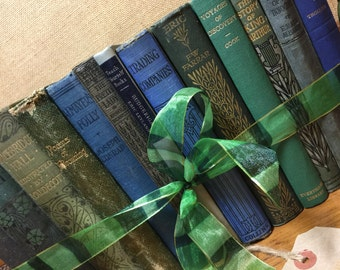 GREEN and BLUE - Vintage Book Collection - Old Books Decoration - Foot Long 11-13 Shelf Staging - Home Decor - Custom Sourced - Books