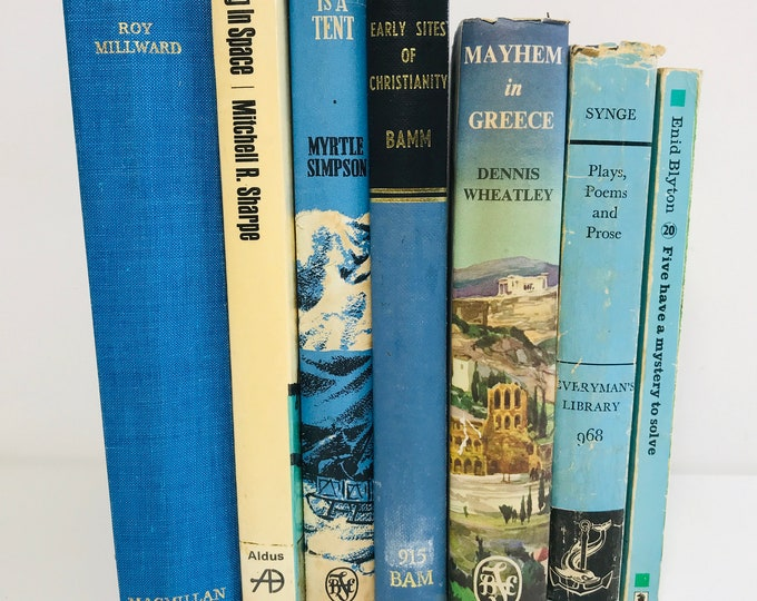 Blue Cream and Black Decor Book Collection | Decorative Turquoise Blue and Black Books | Library Decor Photo Props and Interior Design