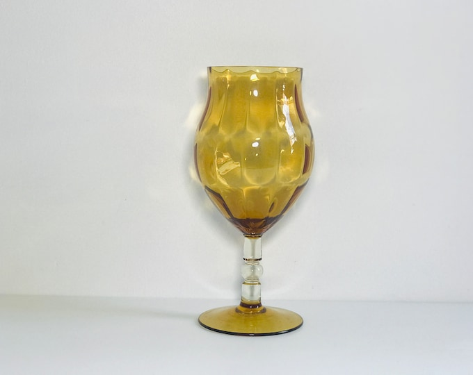 Italian Empoli Footed Art Glass Vase Vintage 1960s | Large Retro Coloured Glass Vase