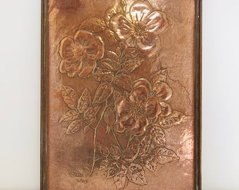 Large Framed Copper Repousse Arts and Crafts Floral Piece Inscribed Golden Wings | Vintage Copper Wall Decor For Interior Design