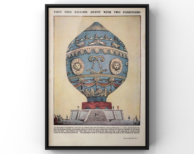 Featured listing image: Blue Victorian Hot Air Balloon Print | First Air Ballon Ascent with Two Passengers Unframed Poster | SC00049